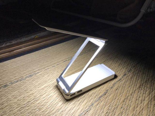 LEDデスクライト充電式おりたたみパワーバンクを使った口コミ!デスクライトでスマホ充電もできる!